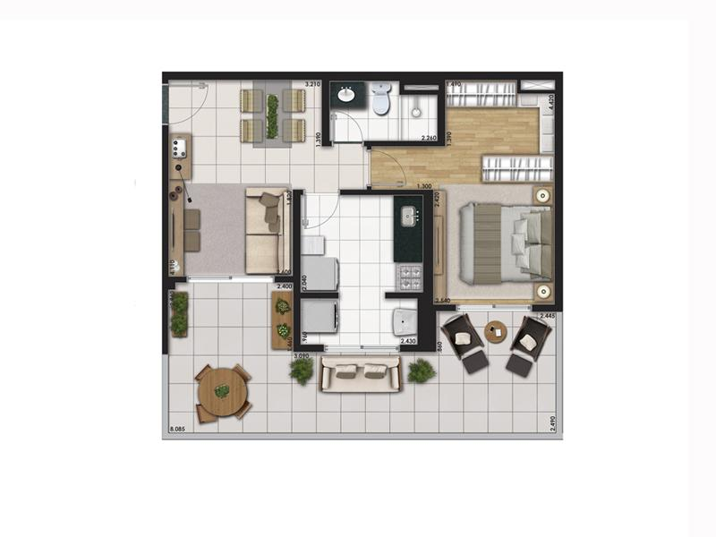 Planta Tipo 63m² com 1 Dormitório (Garden)