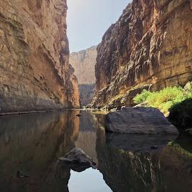 No Wall by Luke Vinson - Uncategorized All Uncategorized ( border, mexico, rocks, reflection, water )