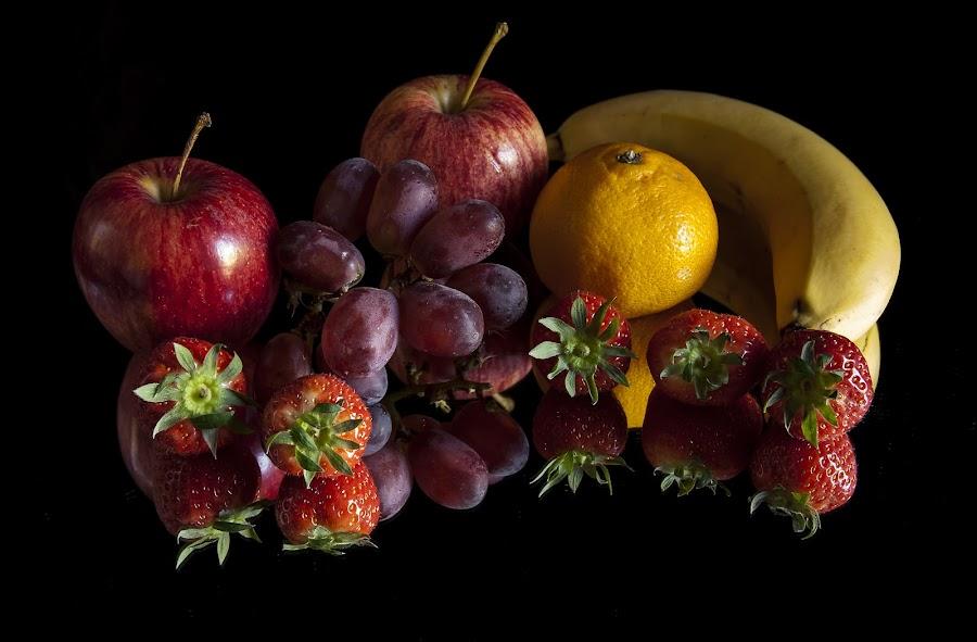 Fruit Salad by Russell Mander - Food & Drink Fruits & Vegetables ( reflection, fruit, strawberries, apples, orange b, colours, grapes )