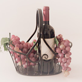 Basket of Wine and Grapes by Sherry Hallemeier - Food & Drink Alcohol & Drinks ( wine, fruit, grapevine, still life, stock art, fine art, canvas, framed art, picnic basket, bottle, color, grape, metal bsaket, basket, artistic, artistic objects, prints, posters, picnic,  )