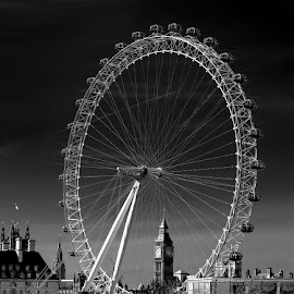 Old and New Landmarks by Rob Darby - Black & White Buildings & Architecture ( london eye, uk, monochrome, london, travel, big ben )