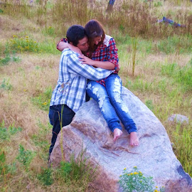 First Love by Jessica Wood - People Couples ( love, squeeze, nature, hug, first, portrait )
