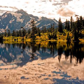 Mt Shuksan and Image Lake by Rakesh Malik - Landscapes Mountains & Hills ( reflection, mountain, mt. shuksan, classic photo, north cascades, mt. baker, pacific northwest, image lake )