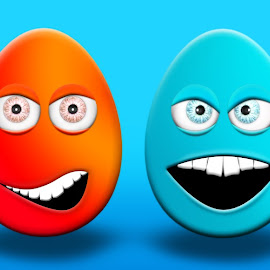 Easter Eggs With Eyes and Mouth Feeling Happy, Confused, Angry a by Aleksandar Ilic - Illustration Cartoons & Characters ( basket, symbol, egg, seasonal, painted, objects, happy, concept, easter, holiday, april, life, decorated, spring, character, romantic, design, rabbit, season, tradition, 3d illustration, decoration, easter egg, easter eggs, eggs, smiling, blossom, springtime, nature, cartoon, festival, colorfull, flower, 3d render, celebration, traditional, closeup, cartoonized, fragile, little )