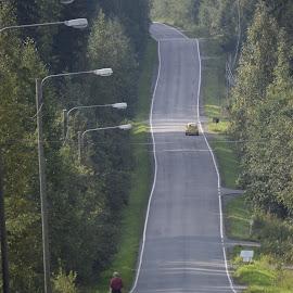 street to.. by Marko Paakkanen - City,  Street & Park  Street Scenes ( street, lamp, forest, road, up )