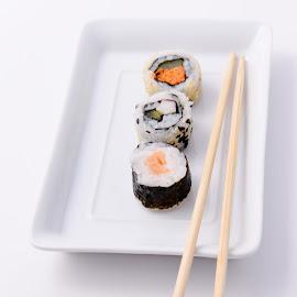 Sushi by Vineet Johri - Food & Drink Plated Food ( high key, vkumar photography, sushi, food, chinese food )