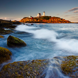 Nubble Lighthouse Maine by Olga Charny - Landscapes Waterscapes ( nubble, maine, lighthouse )