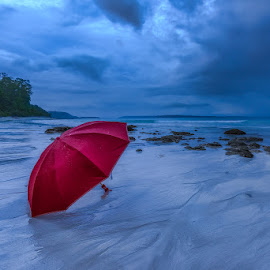 The Red Spot, Havelock 2017 by Manabendra Dey - Landscapes Beaches ( red, umbrella, havelock, gloomy, umbrella on the beach )