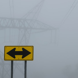 Decisions About Energy 2 by Kevin Lucas - Landscapes Weather ( directions, sign, foggy, alternative energy, decisions, power lines, power, kevin lucas, energy )