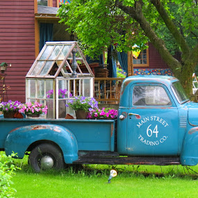 64 Main Street Trading Company by Rita Goebert - Transportation Other ( repurposed; truck; antiques; trading company; macedon; new york; 64 main street;flowers,  )