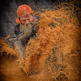 Jimmy The Cameraman by Marco Bertamé - Sports & Fitness Other Sports ( water, splash, splatter, camera, eyes closed, waterdrops, soup, sliding, red, strong, drops, dirty, brown, strongmanrun, man )