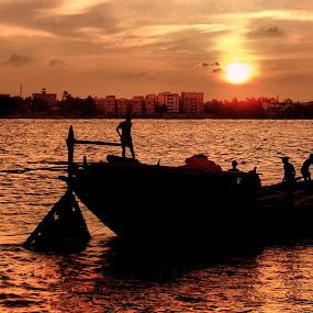 Epar Opar by Jhilam Deb - Transportation Boats ( ganga, kolkata, boats, sunshine, transportation,  )