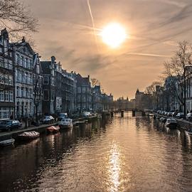Sunset! by Jesus Giraldo - City,  Street & Park  Historic Districts ( water, urban, reflection, amsterdam, beauty, city )