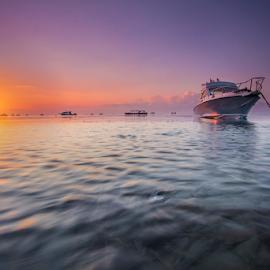 Its Getting High by Choky Ochtavian Watulingas - Landscapes Sunsets & Sunrises ( boats, reflections, sea, seascape, sunrise, sun, skies, high tide )