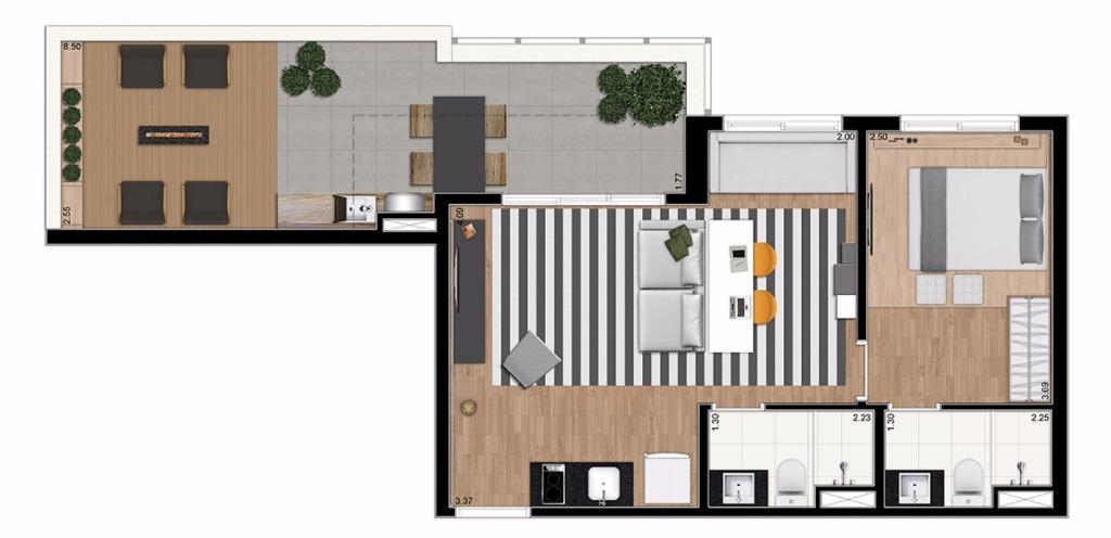 Planta PentHouse 66 m²