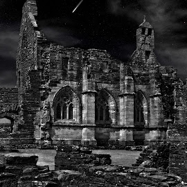 by Stephen Crawford - Digital Art Places ( black+white, manipulated, daylight, nightscape, abbey,  )