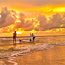 { Paddle Boarders pause to watch Sunset ~ 30 July }  by Jeffrey Lee - Landscapes Sunsets & Sunrises ( { paddle boarders pause to watch sunset ~ 30 july } )