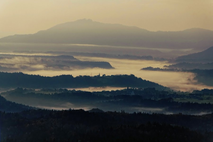 morning landscape by Brut Carniollus - Landscapes Mountains & Hills ( hills, morning, landscape, mist,  )