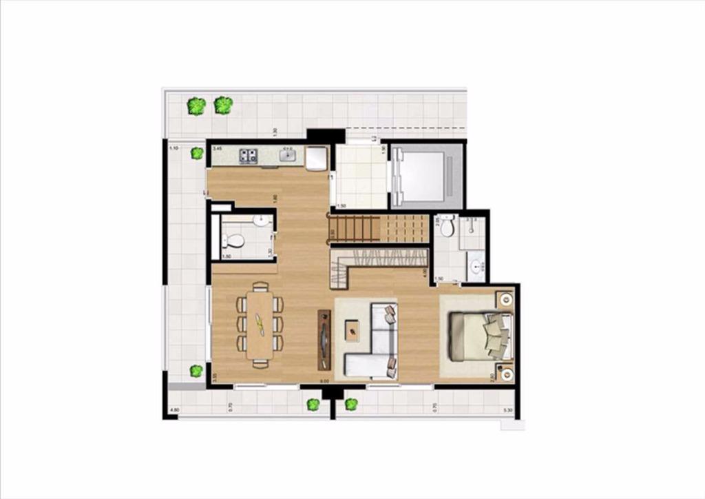 Planta Cobertura  Duplex Inferior - 125 m²