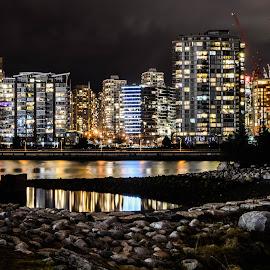 Vancouver from False Creek Sea Wall by Cory Bohnenkamp - City,  Street & Park  Night ( water, skyline, vista, buildings, long exposure, night, gravel, rocks, vancouver, city )