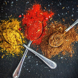 Beautiful color of spices by Marko Radosavljevic - Food & Drink Ingredients ( red, sweetpaprika, brown, chilliflackes, yellow, curry, salt )