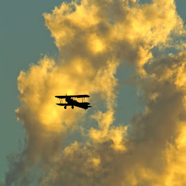 Through the Clouds by Luanne Bullard Everden - Transportation Airplanes ( clouds, sky, silhouette, transportation, planes )