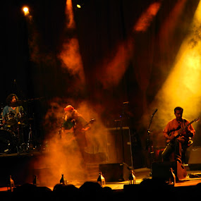 concert by Neha Neekhra - People Musicians & Entertainers ( lights, shadow, drum, guitar, yellow )