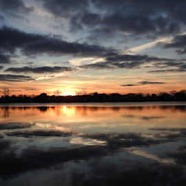 X Marks The Spot by Kathy Woods Booth - Landscapes Sunsets & Sunrises ( waterscape, sunset, twilight, cloudy, cloudscape, reflections, dusk )