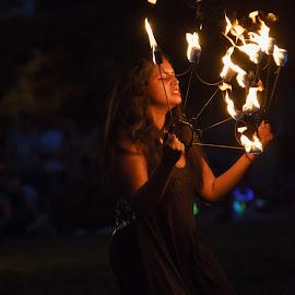 Fervor  by Vinod Kalathil - People Musicians & Entertainers ( fire dance, night, chicago, entertainer, fire )
