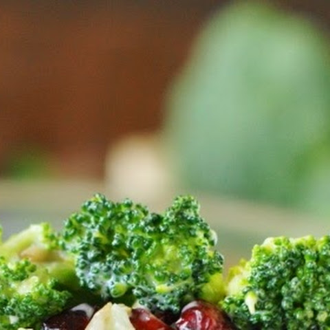 Broccoli Salad with Bacon & Dried Cranberries (Printable recipe)