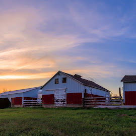 On the Farm by Dustin White - Buildings & Architecture Other Exteriors ( field, farm, barn, sunset )
