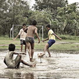 monsoon joy by Arnab Bhattacharyya - Sports & Fitness Soccer/Association football