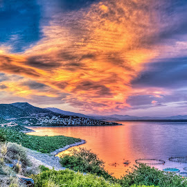 Interpretation of a Sunset by Ioannis Alexander - Landscapes Cloud Formations ( clouds, landscape, skyscape,  )