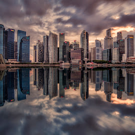 Turbulence by Gordon Koh - City,  Street & Park  Skylines ( clouds, shenton way, skyline, riverfront, cityscape, travel, singapore, city, financial district, skyscraper, sunset, jubliee bridge, buildings, asia, long exposure, waterfront )