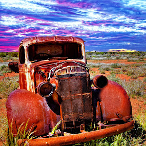 Derelict Truck  by Loredana  Smith - Transportation Automobiles ( old, truck, automobile, neglect, menzies, pick up, forgotten, rustic, aged, junk, worn out, transport, derelict, rust, classic, western australia, desert, overgrown, sunset ·australia ·rusty ·landscape ·, vintage, wreck, rural, broken, field, old ·truck derelict, antique, decay, abandoned )
