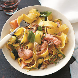 Pappardelle With Salmon, Zucchini And Walnuts