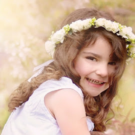 Spring Garden Fairy by Darya Morreale - Babies & Children Children Candids ( cherry tree, girl, spring blossoms, garden, flower crown )