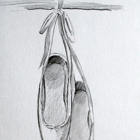 Ballet Shoes by Anika McFarland - Drawing All Drawing ( shoes, hanging ballet shoes, ballet shoes, ballet, shoe )
