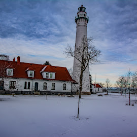 Cold Winter's Day At Wind Point by Chris Klug - City,  Street & Park  Historic Districts ( wisconsin, lake michigan, winter, cold, light house, snow, winterscape, great lakes )
