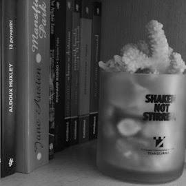 Bookshelf by Ioana Husar - Novices Only Objects & Still Life ( mug, books, shaken not stirred, black and white, bookshelf )