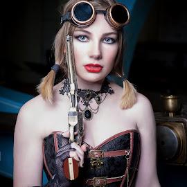 Steampunk Girl 2 by Chris O'Brien - People Portraits of Women ( girl, location, woman, lips, beauty, steampunk, eyes )
