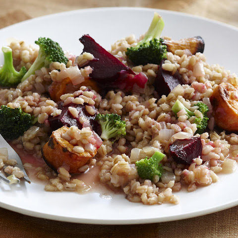 Roasted Autumn Vegetable Barley with Almond Sauce