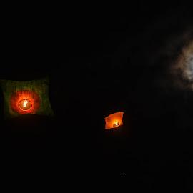 Sky lantern  by Diptta Bhattacharjee - Abstract Fire & Fireworks ( photograpphy, bangladesh, sky, skylantern, beautiful, fullmoon, fireworks, nice, chittagong, buddha )