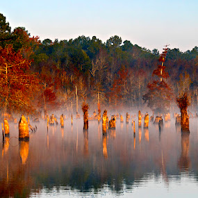 Smoke on the Water by Ken  Frischkorn - Landscapes Waterscapes ( water, dawn, lake, morning )