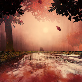 The red house by Caras Ionut - Digital Art Places ( tutorials, ioana, purple, mystery, joy, running, manipulation, balance, psd, red, girl, tree, violet, iris, mist, photoshop )