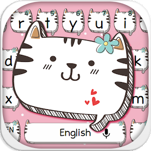 Lovely Pink Cat Keyboard Theme