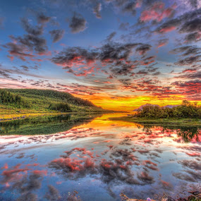 Sunset by Benny Høynes - Landscapes Sunsets & Sunrises ( clouds, reflection, nature, hdr, sunset, norway,  )