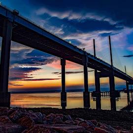 Before Sunrise at the Kessock Bridge  by Gordon Bain - Buildings & Architecture Bridges & Suspended Structures ( inverness scotland kessock bridge dawn )
