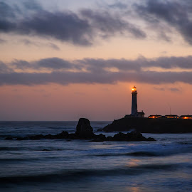 Pigeon Point Lighthouse by Gannon McGhee - Landscapes Waterscapes ( pigeon, point, sunset, california, lighthouse )