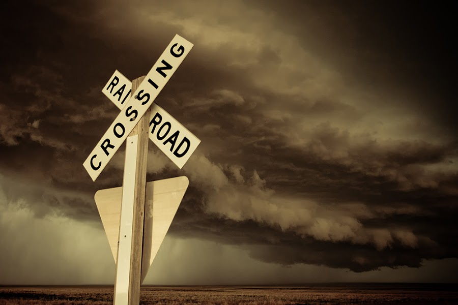 Danger Ahead by Melanie Kern-Favilla - Landscapes Travel ( clouds, scary, signs, unique, sky, railroad, supercell, storm, tornado, pwcroadsigns )